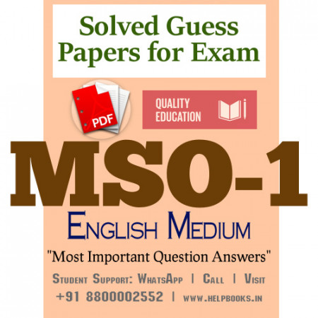 MSO1 IGNOU Solved Sample Papers/Most Important Questions Answers for Exam-English Medium