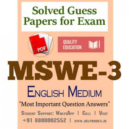 MSWE3 IGNOU Solved Sample Papers/Most Important Questions Answers for Exam-English Medium