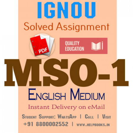 Download MSO1 IGNOU Solved Assignment 2020-2021 (English Medium)