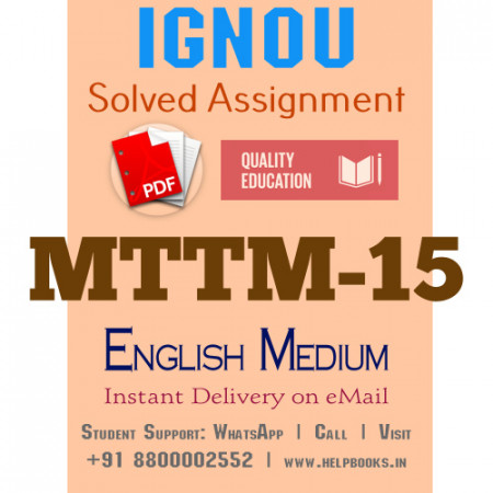 Download MTTM15 IGNOU Solved Assignment 2020-2021