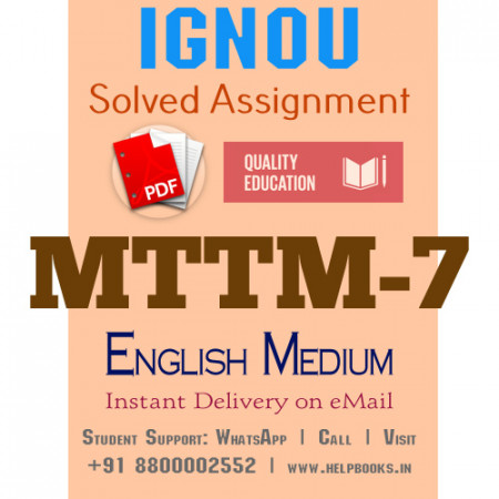 Download MTTM7 IGNOU Solved Assignment 2020-2021