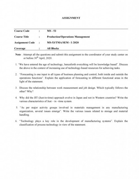 MS53-IGNOU MBA Solved Assignment 2020/Semester-I (Production/Operations Management)