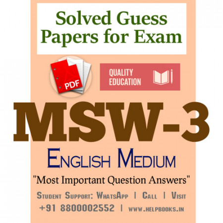 MSW3 IGNOU Solved Sample Papers/Most Important Questions Answers for Exam-English Medium