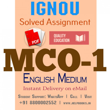 Download MCO1 IGNOU Solved Assignment 2020-2021 (English Medium)
