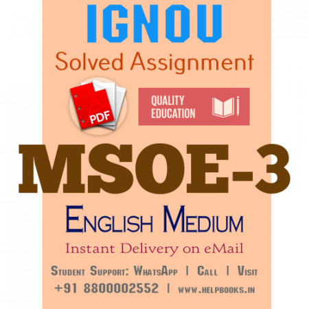 Download MSOE3 IGNOU Solved Assignment 2020-2021 (English Medium)