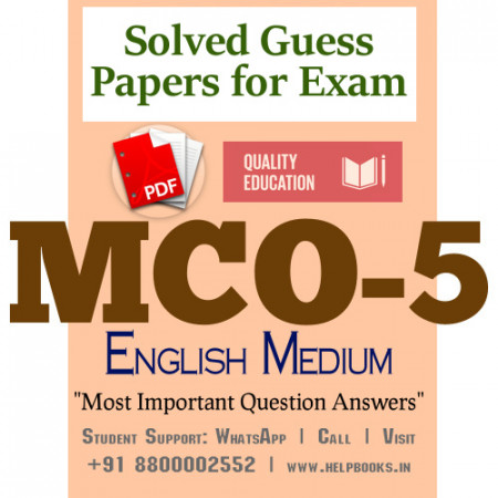MCO5 IGNOU Solved Sample Papers/Most Important Questions Answers for Exam-English Medium