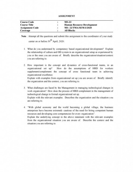 MS22-IGNOU MBA Solved Assignment 2020/Semester-I (Human Resource Development)
