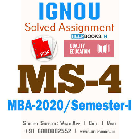 MS4-IGNOU MBA Solved Assignment 2020/Semester-I (Accounting and Finance for Managers)