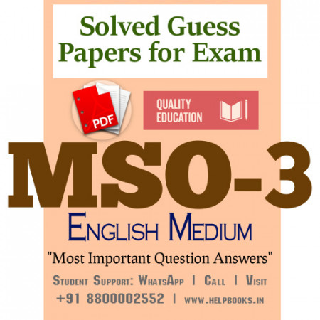 MSO3 IGNOU Solved Sample Papers/Most Important Questions Answers for Exam-English Medium