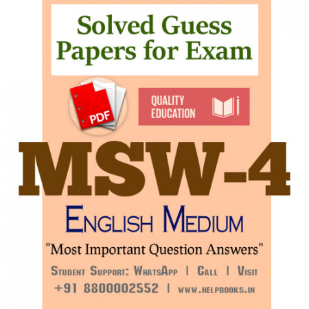 MSW4 IGNOU Solved Sample Papers/Most Important Questions Answers for Exam-English Medium