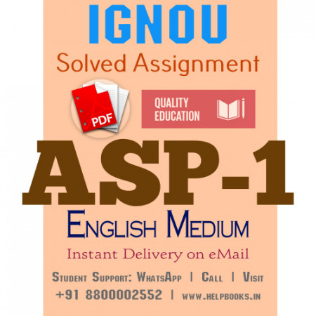 Download ASP1 IGNOU Solved Assignment 2020-2021 (English Medium)