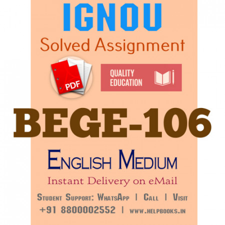 Download BEGE106 IGNOU Solved Assignment 2020-2021