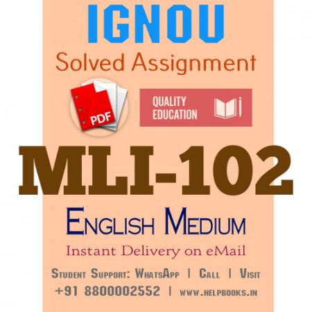 Download MLI102 IGNOU Solved Assignment 2020-2021 (English Medium)