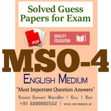 MSO4 IGNOU Solved Sample Papers/Most Important Questions Answers for Exam-English Medium