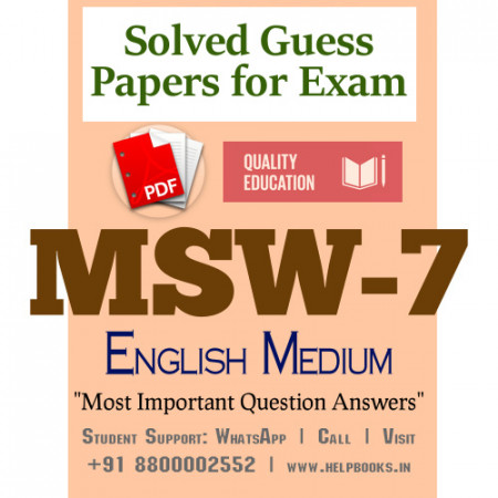 MSW7 IGNOU Solved Sample Papers/Most Important Questions Answers for Exam-English Medium