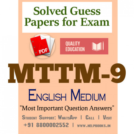 MTTM9 IGNOU Solved Sample Papers/Most Important Questions Answers for Exam