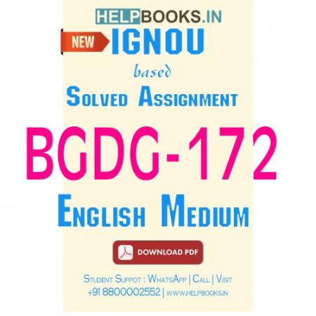 Download BGDG172 Solved Assignment 2020-2021 (English Medium)-Gender Studies BGDG-172
