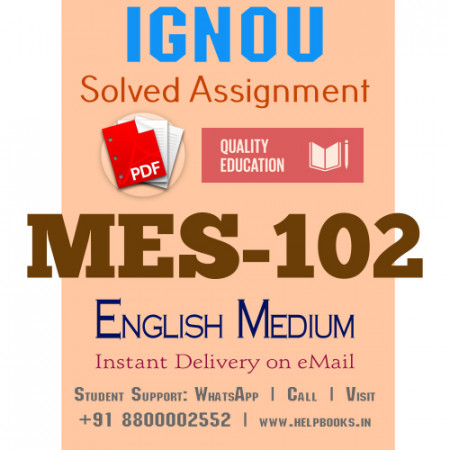 Download MES-102 IGNOU B.ed IGNOU Solved Assignment 2020-2021 (English Medium)