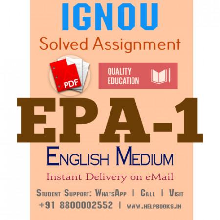 Download EPA1 IGNOU Solved Assignment 2020-2021 (English Medium)