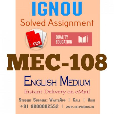 Download MEC108 IGNOU Solved Assignment 2020-2021 (English Medium)