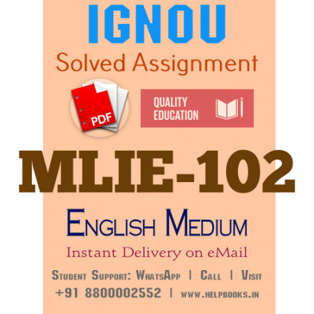 Download MLIE102 IGNOU Solved Assignment 2020-2021 (English Medium)