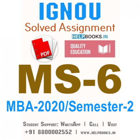 MS6-IGNOU MBA Solved Assignment 2020/Semester-II (Marketing for Managers)