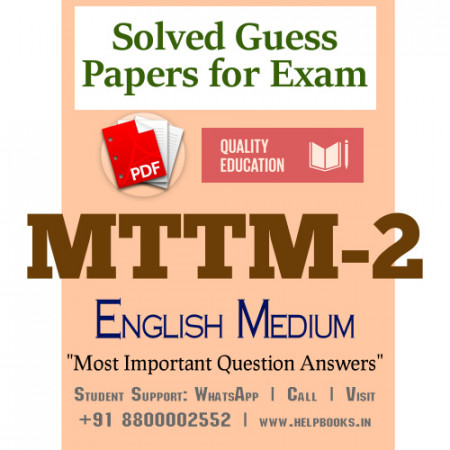 MTTM2 IGNOU Solved Sample Papers/Most Important Questions Answers for Exam