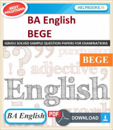 IGNOU BA English Elective Solved Assignments-BEGE   e-Assignment Copy   2019-2020