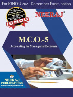 MCO5, Accounting for Managerial Decisions (English Medium), IGNOU Master of Commerce (MCOM) Neeraj Publications | Guide for MCO-5 for December 2021 Exams with Sample Papers