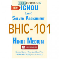 BHIC101 Solved Assignment (Hindi Medium)-History of India –I BHIC-101