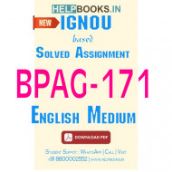 BPAG171 Solved Assignment (English Medium)-Disaster Management BPAG-171