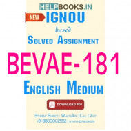 BEVAE181 Solved Assignment (English Medium)-Envirnoment Studies BEVAE-181