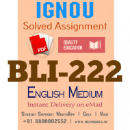 Download BLI222 IGNOU Solved Assignment 2020-2021 (English Medium)