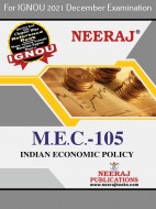 MEC105, Indian Economic Policy (English Medium), IGNOU Master of Arts (Economics)(MEC) Neeraj Publications | Guide for MEC-105 for December 2021 Exams with Sample Papers