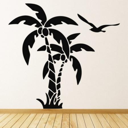 Sticker Palm Tree Tropical Birds