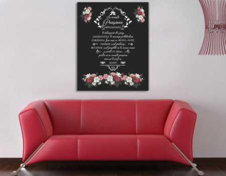Tablou canvas - In Acesta Pensiune Floral Negru