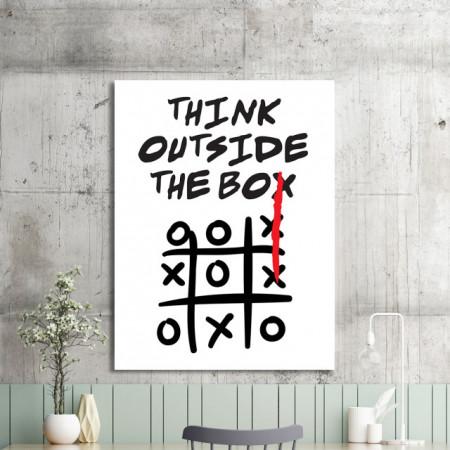 Tablou motivational - Think outside the box (tic tac toe)