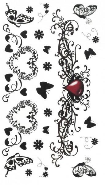 Tatuaj temporar -inimi si fluturi- 10x17cm
