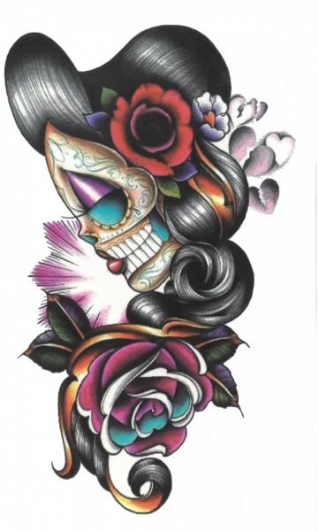 Tatuaj temporar -woman skeleton- 17x10cm