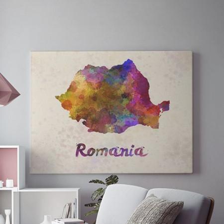 Tablou Canvas Romania acuarela