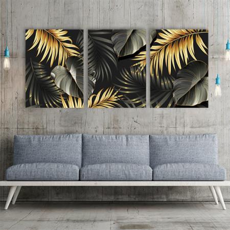 Set 3 tablouri - Golden jungle