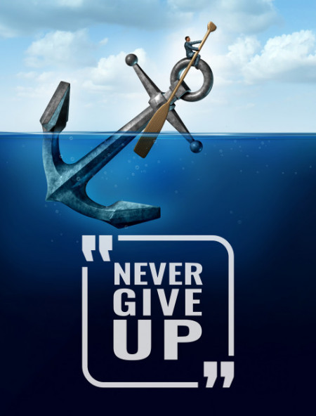 Tablou motivational - Never give up (anchor)