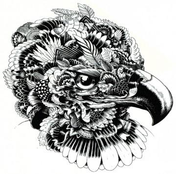 Tatuaj temporar -Cap de Vultur-Artistic- 24X22cm