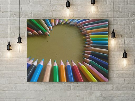 Tablou Canvas Inima din creioane colorate