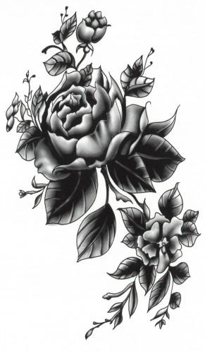 Tatuaj temporar flori-trandafiri-bulbi 17x10cm