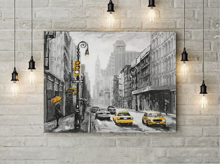 Yellow cabs on a rainy day