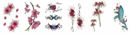 Set 6 tatuaje temporare -flower design- 9x5cm