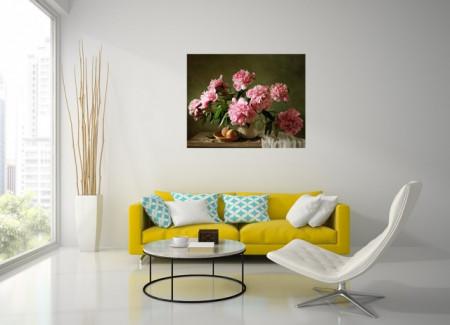 Tablou canvas - Vaza cu bujori