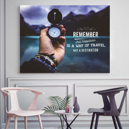 Tablou motivational - Happiness is a way of travel
