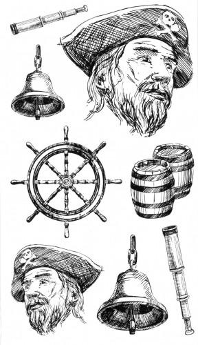 Tatuaj temporar -Pirat cu accesorii- 17x10cm